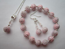 Silver Plated Jewellery Set in Pale Pink Swirl Beads - 3 pieces