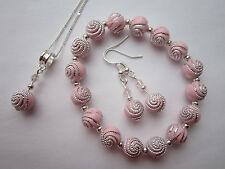 SILVER PLATED Gioielli Set in rosa pallido Swirl Perline-Collana e Orecchini