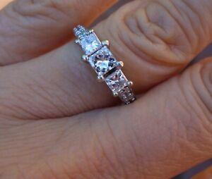 1.16ct Princess past present future engagement anniversary ring 14k WG