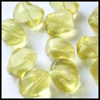 15 Glasperlen Nuggets 13x10,5mm Gelb Perlen Perles D264