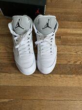 Air Jordan 5 retro white metallic size 9