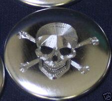 Badge gravé  Ø25mm Tête de Mort Skull gravure couleur métal
