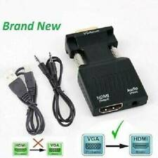 VGA to HDMI Adapter Converter Male VGA in Female HDMI 1080p Video Audio Ad @hiu