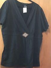 Venezia Women's Blouse Top Black Squined 22/24 NWT