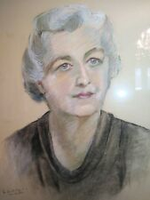 Original PORTRAIT Of A Lovely Woman PAINTING PASTEL SIGNED FRAMED