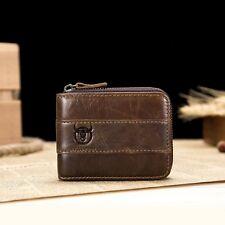 Mens Genuine Leather Wallet RFID Zipper Bifold Purse ID Credit Card Holder Tag