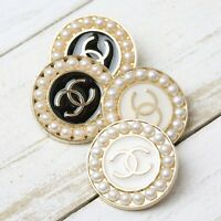 Chanel Buttons 4pc CC Gold & Cream/Black 23mm faux pear unstamped AUTH!!!