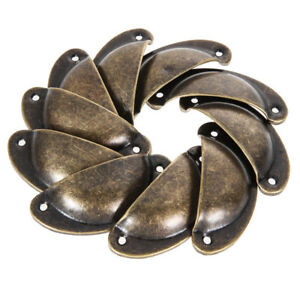 12PCS Vintage Bronze Shell Pull Cup Handles Cabinet Drawer Kitchen Cupboard Knob
