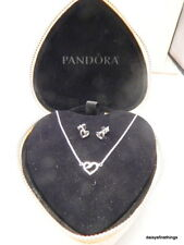 AUTHENTIC PANDORA NECKLACE EARRINGS GIFT SET RIBBON OF LOVE #590535CZ, 290736CZ