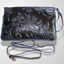Clutch Abendtasche Schultertasche Leder Umhänge Tasche Handtasche Blau 2
