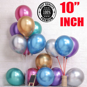 "20 METALLIC LATEX PEARL CHROME BALLOONS 10"" Helium Baloon Party Happy Birthday"