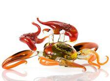 Crab Glass Figurine, Blown Glass Art, Orange and Red Marine Creature Miniature