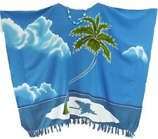 MALDIVES Hand Painted Coconut Island Kaftan Top Poncho Ladies Blouse T-Shirt