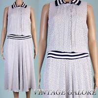 VTG 80s White Black Polka Dot swing slouch top Ballerina Length dress Sz S M