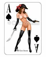 Sexy Pirate buccaneer pinup babe playing card decal sexy pin-up babe sticker R