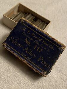 Vintage NOS R.E. KINDEL Pen Co. No. 117 Silver Alloy Pens Nibs in Box Cincinnati