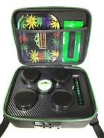 Stash Box in Black - Smell Proof Locking with Rolling Tray, Grinder, Strain Jars