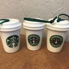 "2016 Starbucks Ornament Mini Mugs  3""  Set of 3  white ceramic green logos"