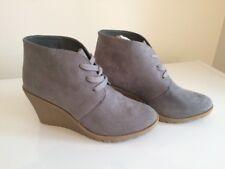 Sociology Nancy Lace Up Wedge Booties Women's Boots Grey Sz 10 Suede