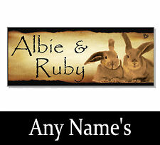 Vintage DOUBLE Rabbit PERSONALISED NAME Hutch Sign Plaque House cage garden run