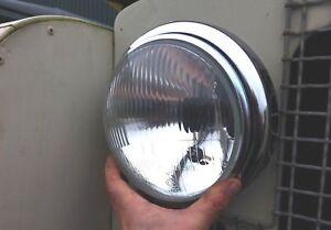 Land Rover Series 1 2 2a Complete Head Light/Lamp Steel Bucket Unit, Rim & Loom