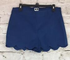 Womens Mud Pie Serena Scallop Shorts Size Medium Color Navy Cotton Blend