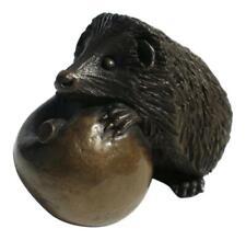 Oriele Cold Cast Bronze Large Hedgehog & Apple Figure Figurine Decoration