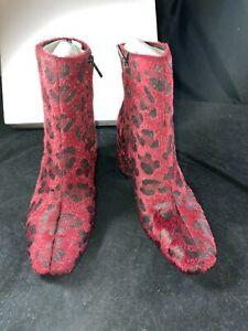BNIB CLAVIN KLEIN 'Mable' Burgundy Animal Print Faux Fur Boots. EU 39 UK 6