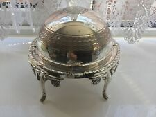 SUPERB VINTAGE SILVER PLATED CHASED ROLL TOP BUTTER/ CAVIAR DISH