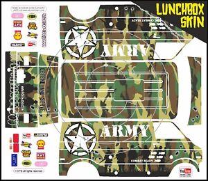 Sticker Set Skin Wrap Green Camouflage ArmyTheme Fits Tamiya Lunch Box shell