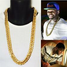 """SALE~! 30"""" 14K YELLOW GOLD FINISH 15mm STAINLESS STEEL LINK CHAIN"""