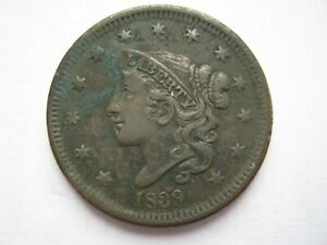 United States 1839 copper Matron Head Large Cent GF pitted