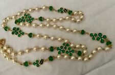 RARE COUTURE VINTAGE CHANEL 90s GREEN GRIPOIX GLASS FLOWER PEARL NECKLACE