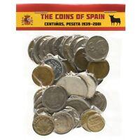 ESPANA LOT OF 100 SPANISH SPAIN COINS PESETAS PESETA CÉNTIMOS 1939-2001