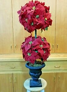 """Christmas Red Poinsettia Topiary Tree 44"""" Double Ball Urn Artificial Velvet"""