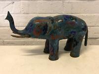 Vintage Antico Cinese Cloisonne Grande Elefante Statua/Figurina