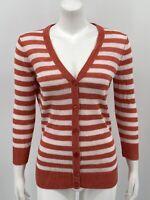 Talbots Women's Cardigan Sweater XS Orange White Stripe 100% Linen Button Front