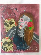 Original Oil Painting Canvas Day of the Dead Halloween Home Decor Wall Art Skull
