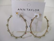 Ann Taylor Large Round Multi Color Crystal Hoop Earrings NWT $39.50