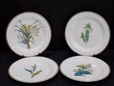 Set of 4 Very Rare Antique Pre-1860 WEDGWOOD Botanical Flower Creamware Plates