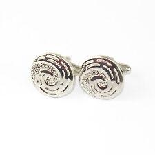 Mens Round Button Stylish Silver Plated Cufflinks Swirl Finish cf24