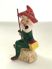 Vintage Pixie Elf Gnome Fishing Red Hat Green Suit Criterion Japan Porcelain