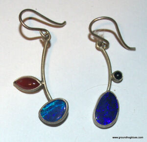 Unusual Art to Wear Asymmetric Gemstones Earrings NWOT