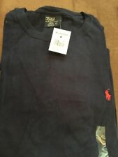 Polo Ralph Lauren Men Crew Neck Classic-Fit T-Shirt  XXL-Navy w/ Red Pony)