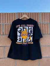 Vintage 2002 NBA Playoffs Los Angeles Lakers Three-Peat Fever T-Shirt Size XL