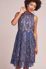 NWT ANTHROPOLOGIE Blue Floral Lace Donna Morgan Dress Sz 2 $228 New