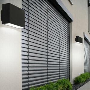 2x LED Wand Lampe UP DOWN Fassaden Beleuchtung Terrassen Park Leuchte schwarz