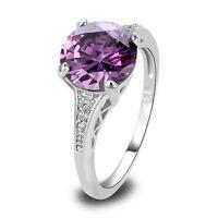 Amethyst White Topaz Jewelry Gemstone Great Silver Ring Size 6 7 8 9 10 11 12 13