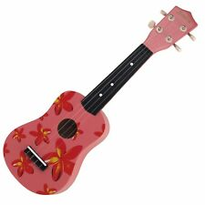 NEW Sanchez Soprano Hawaiian Floral Ukulele 4 String Beginner Kids Uke (Pink)