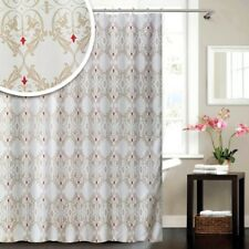 Blue Canyon Damask Range Polyester Funky Cream Red Shower Curtain 180 X 180cm